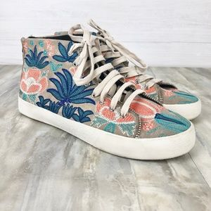 Rebecca Minkoff Floral Embroidered Hi Top Sneakers